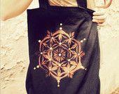 FLOWER of LIFE... black Eco Cotton Bag handpainted