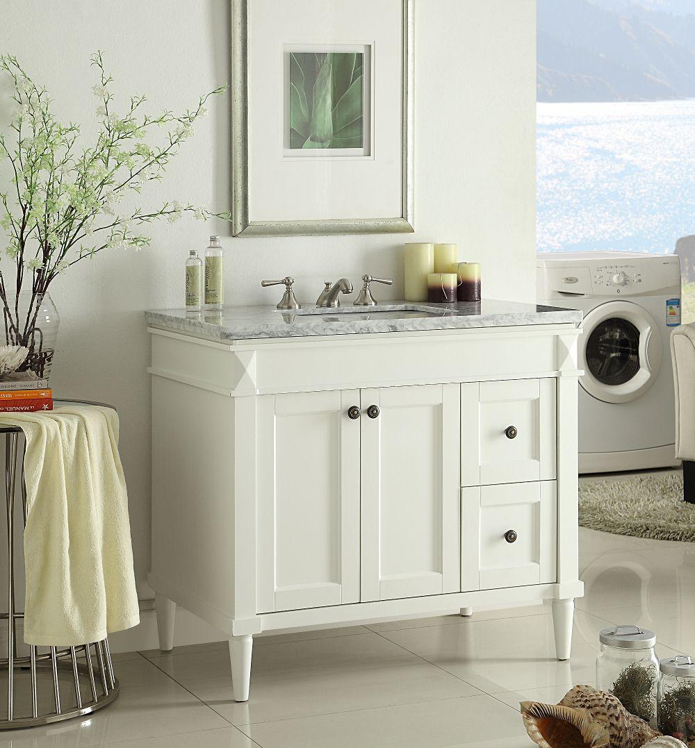 36 Inch Adelina White Finish Bathroom Vanity Marble Top Vanity
