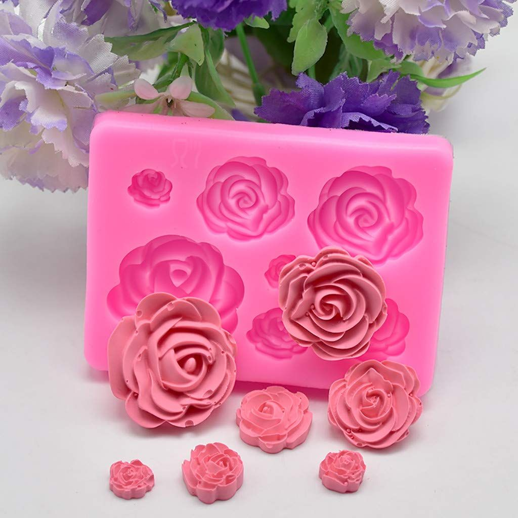 C Easy Diy Fondant Chocolate Mold Tray 3d Rose Flower Silicone Baking Mould Sugar Cake Molds Tools In 2020 Fondant Silicone Molds Baking