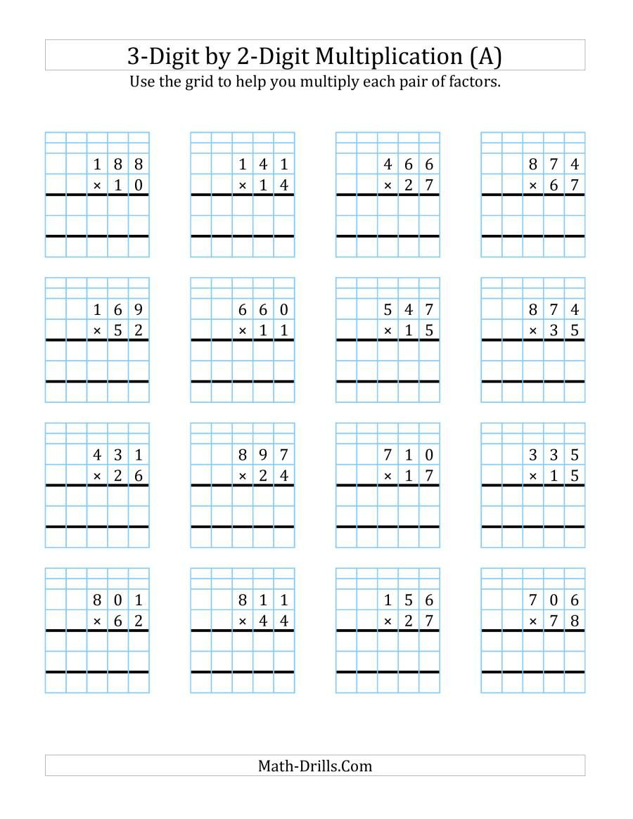 The 3 Digit By 2 Digit Multiplication With Grid Support A Math Worksheet In 2020 Multiplication Worksheets Multiplication Math Multiplication Worksheets