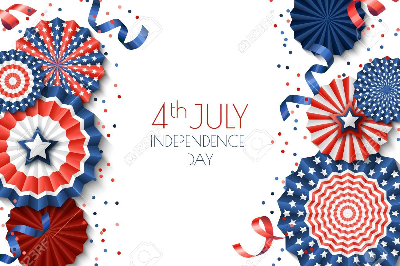 4th Of July Usa Independence Day Vector Banner Template