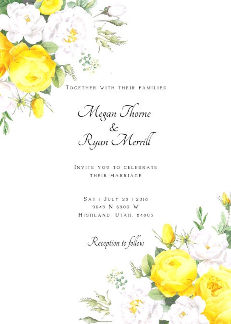 Wedding Invitation Template Yellow Floral Wedding Invitation Rose Wedding Invitation Custom Wedding Invitation Yellow White Roses In 2021 Rose Wedding Invitations Yellow Wedding Invitations Yellow Floral Wedding Invitations