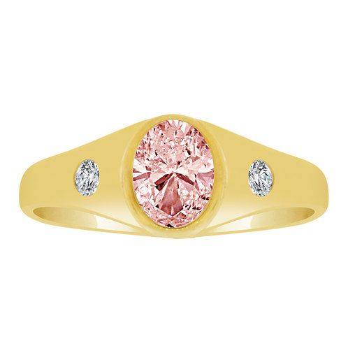 14k Yellow Gold, Simple Plain Ring Oval Oct Birth Color Cubic Zirconia (R206-310)