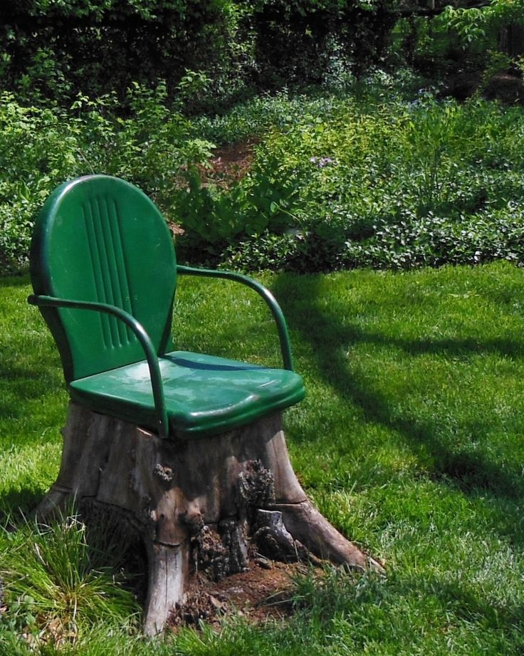 One unsightly tree stump  one metal chair with a broken leg   a whimsical new g is part of Garden seating -