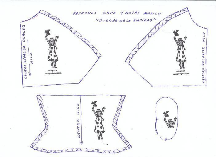 Patrón de Capa y botas para Nancy ( De Anilegra) … | Dolly shoes ...