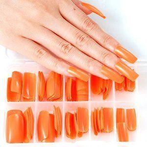 100pcs Nail Art Acrylic Long Full Cover Coloured French False Nails Set-orange by Fraulein 38 - Pedicure N Manicure - £0.99 - http://www.pedicurenmanicure.com/100pcs-nail-art-acrylic-long-full-cover-coloured-french-false-nails-set-orange/