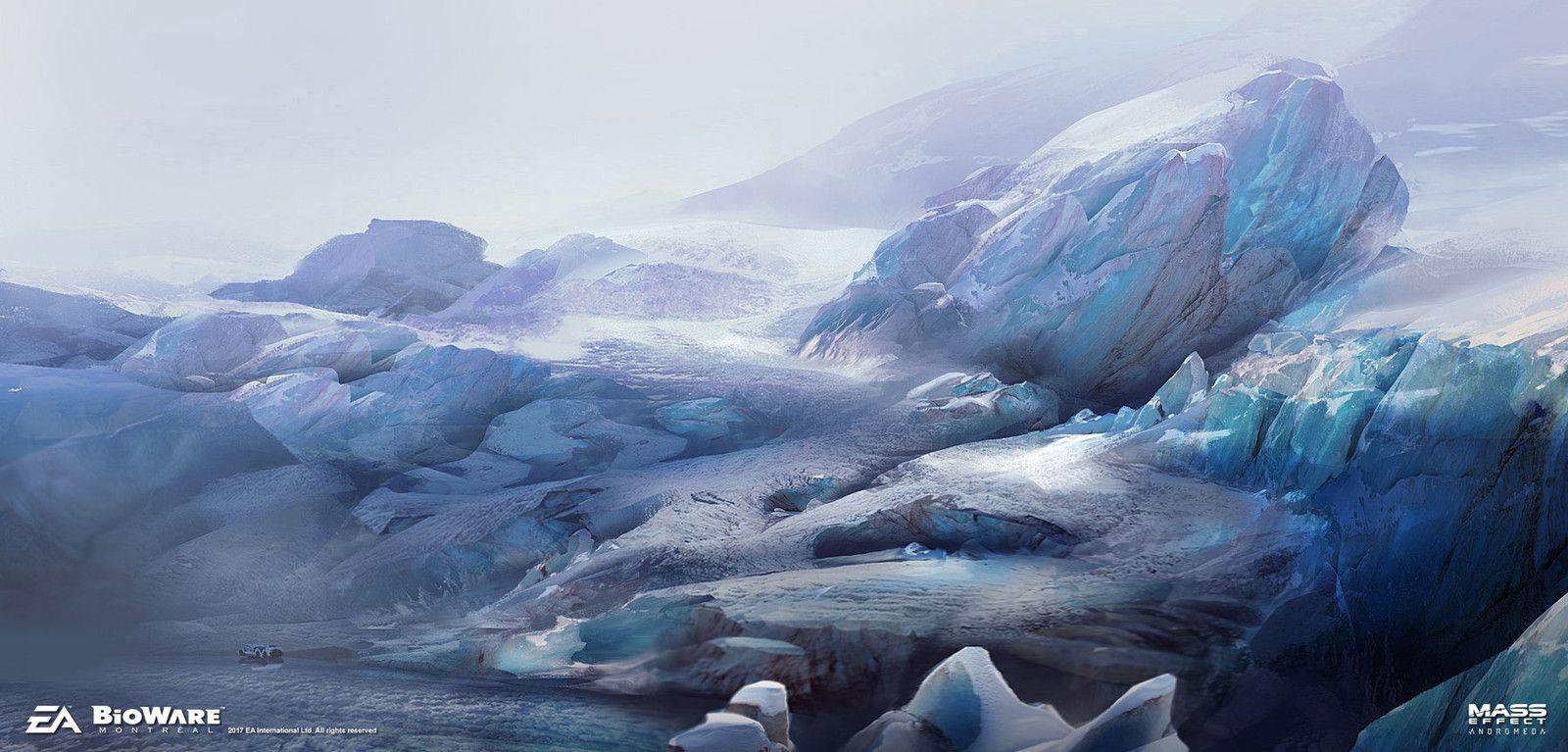 Mass Effect Andromeda - Ice planet exploration sketches, Ben Lo on ArtStation at https://www.artstation.com/artwork/zo5z2