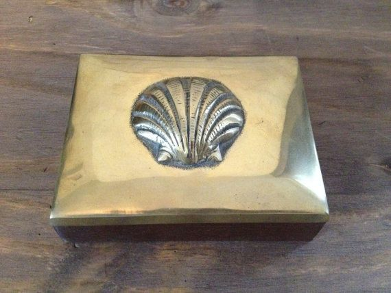 """Vintage Wooden Box with Brass Seashell Lid - 3 3/4"""" x 4 3/4"""" on Etsy, $18.00"""