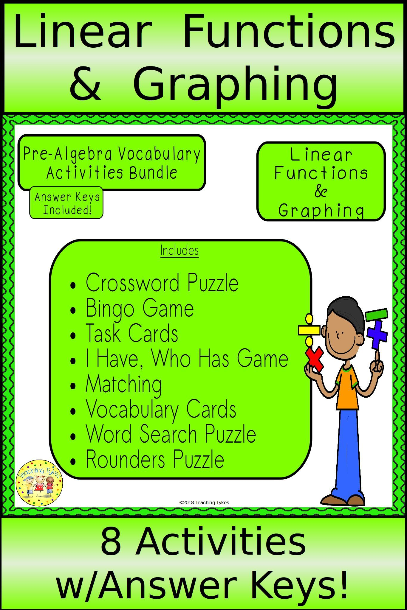 Linear Functions And Graphing Pre Algebra Bundle