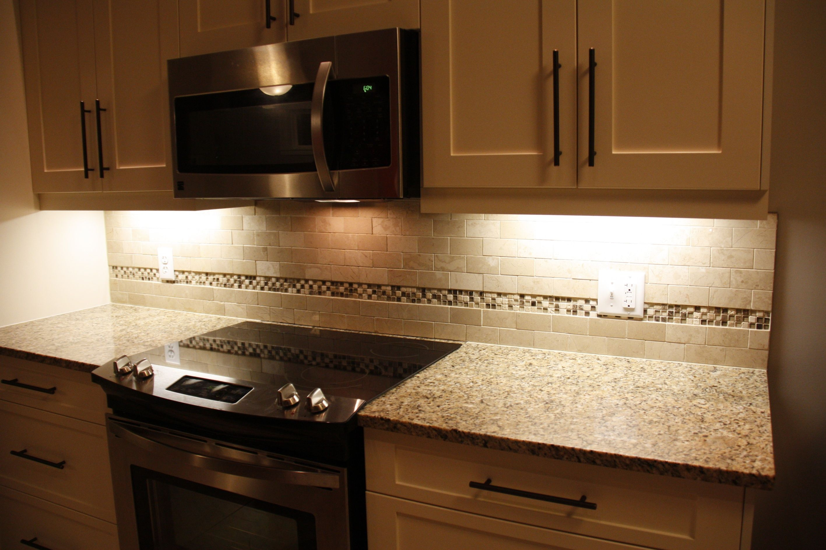 Stone with Glass Insert Backsplash By Stepping Stone & Tile #SST ...