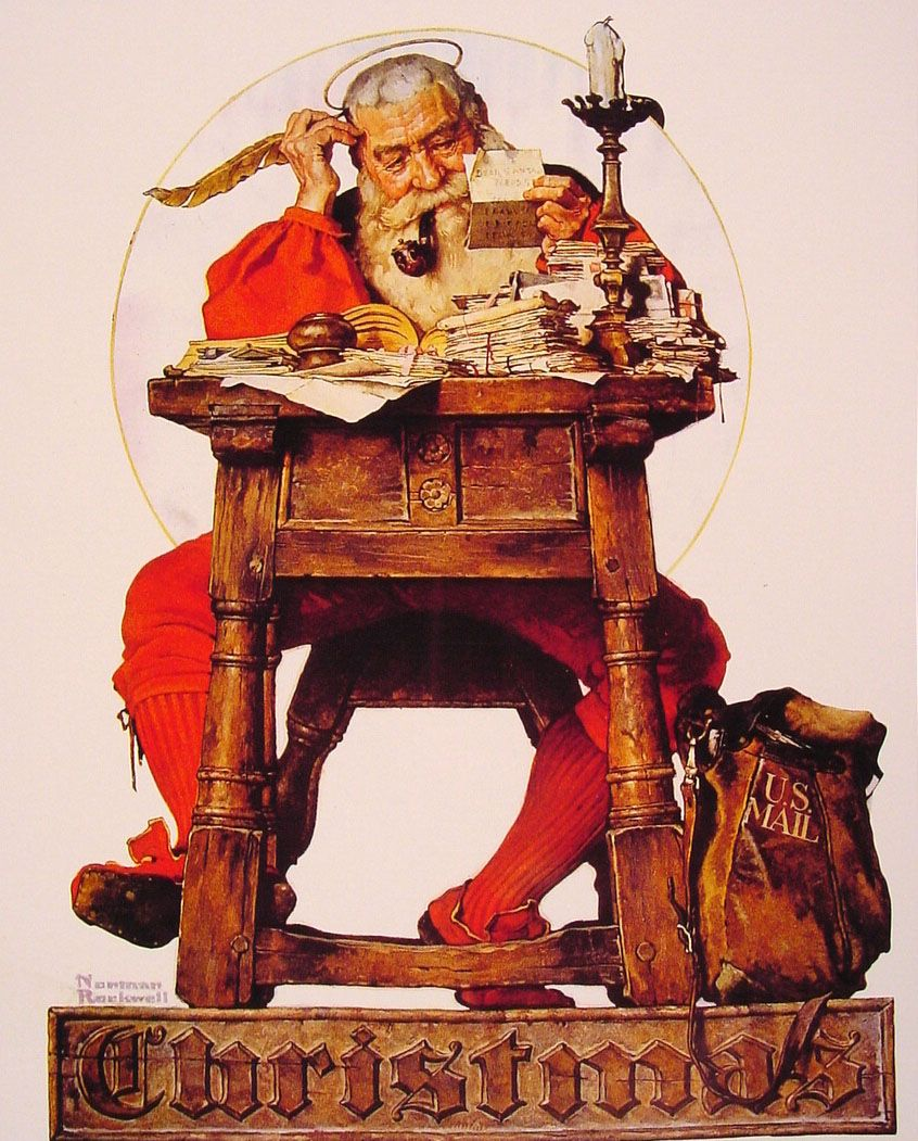 Norman Rockwell 1894 1978 Christmas Santa Reading Mail Oil On