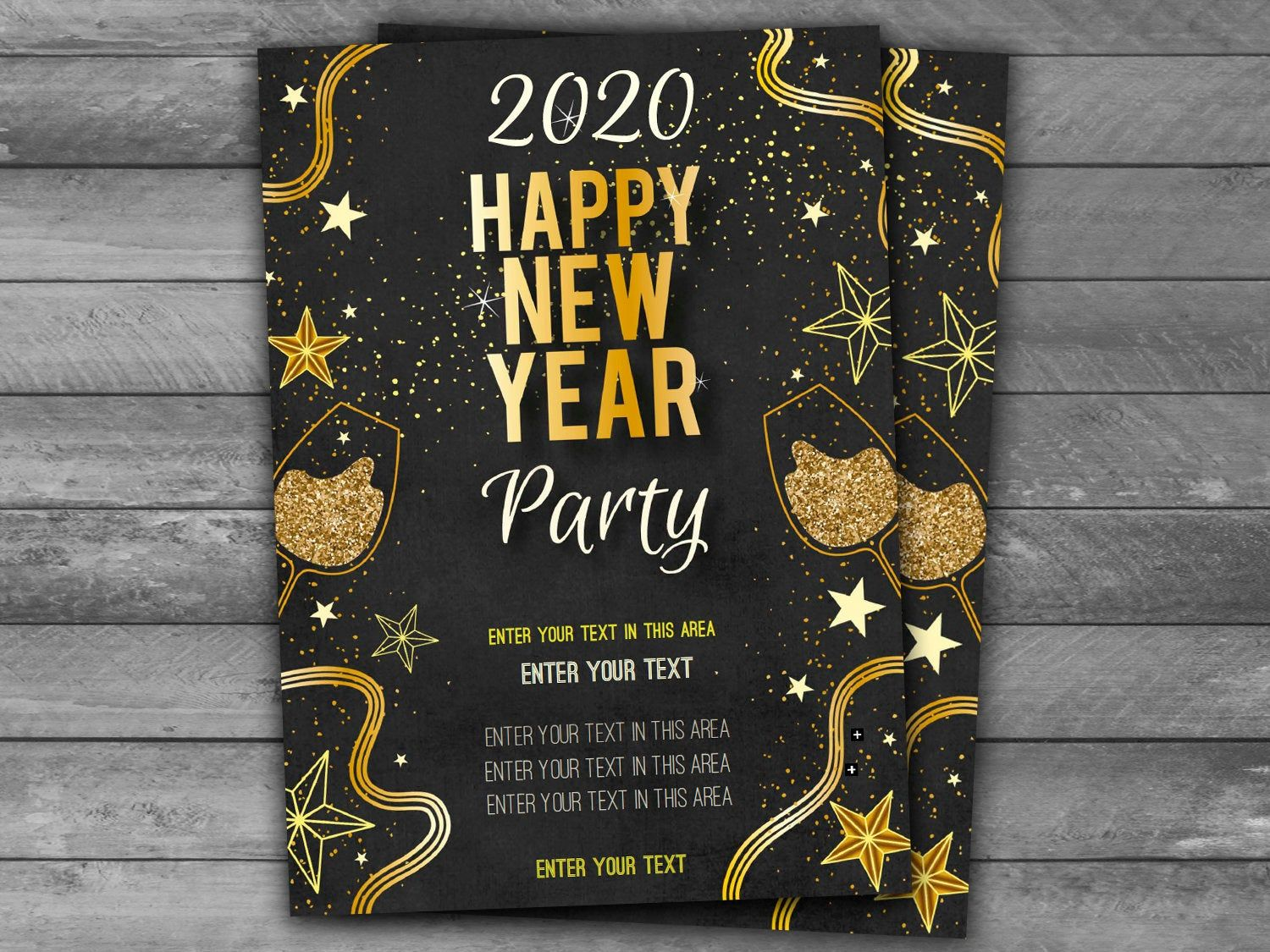 New Years Eve Party Invitation 2020 Gold Black New Years