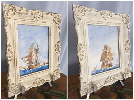 Ship Watercolor Painting Small Framed Set of 2 White Frame Vintage ...