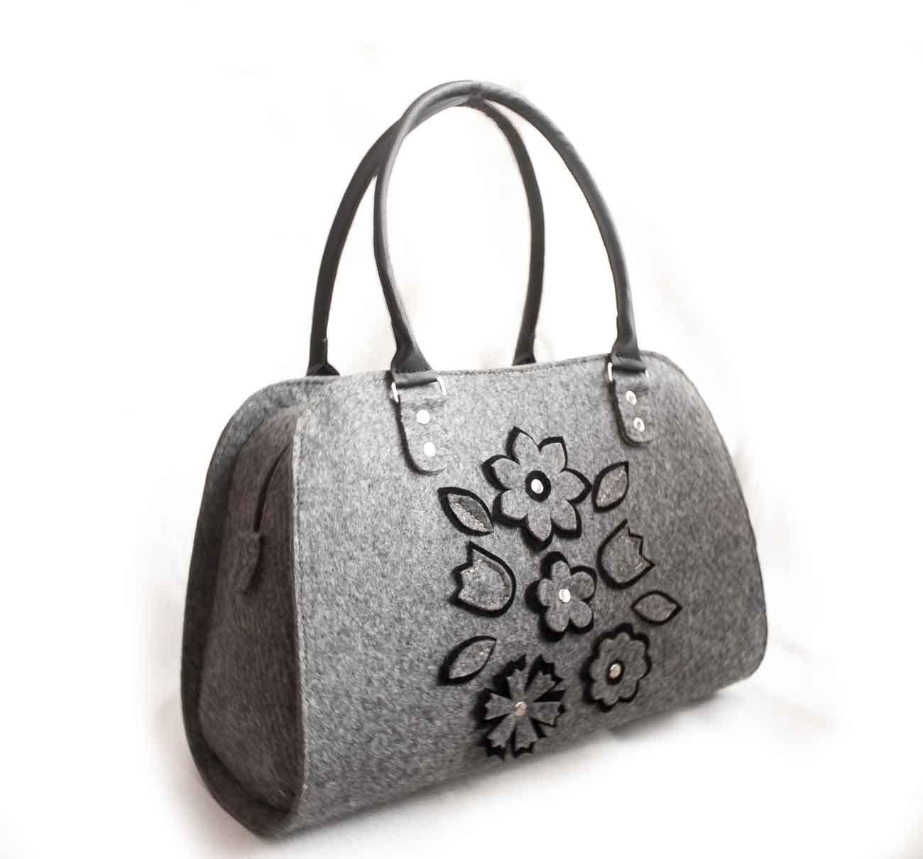 d34ce9b95e ... Ladies felt bag Shopper bag Women s handbag Felted purses Bag lady  Handmade bag Everyday tote bag Medium size bag Floral bag Grey bag by  volaris on Etsy