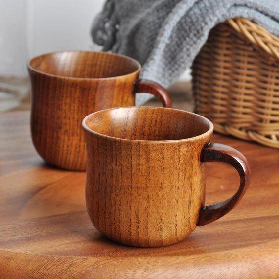 Vintage Wooden Cup Primitive Handmade Jujube Wood Mug Beer Milk Tea Bowl Choice