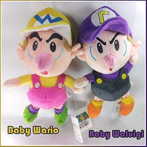 "2X Super Mario Game Wario Waluigi Cartoon 10/"" Stuffed Animal Character Plush Toy"