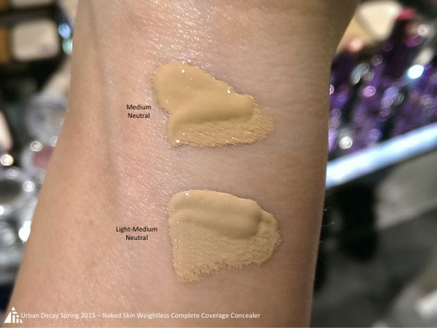 Urban Decay Naked Weightless Complete Coverage Concealer swatches