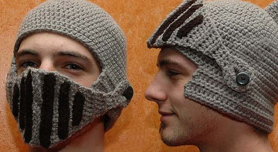 28b30d891 Crochet Novelty Knitted Knight helmet wooly hat Beany adult winter ...
