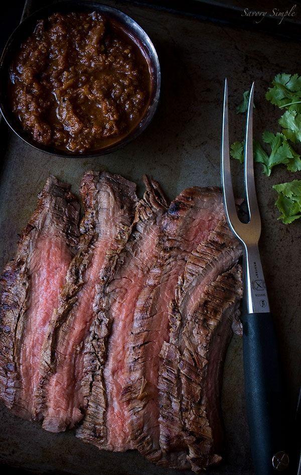 Cumin Marinated Grilled Flank Steak with Salsa #recipesforflanksteak