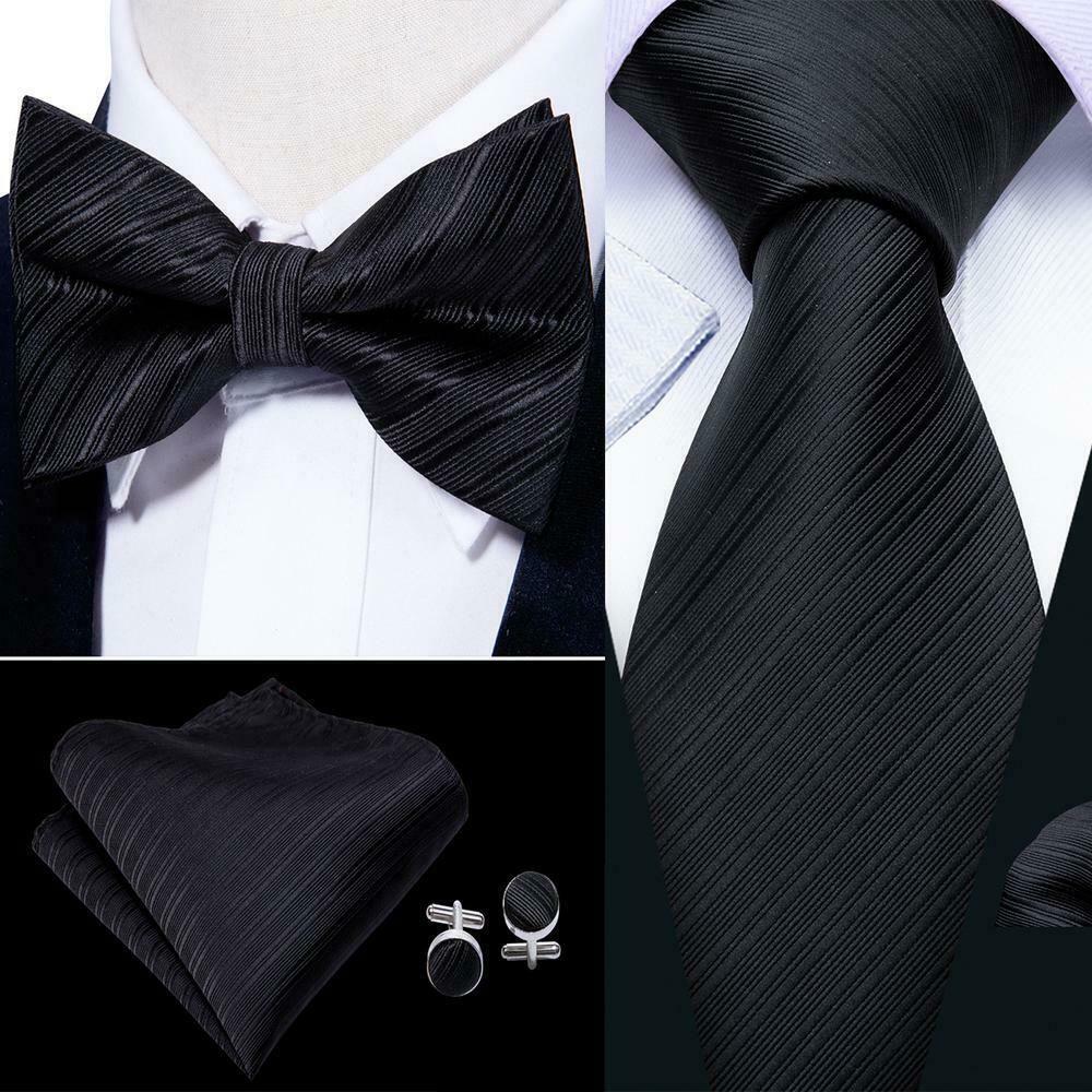PAISLEY MEN BOY PRE-TIED WEDDING EVENT PROM BOW TIE+CUFF LINKS+HANDKERCHIEF SET