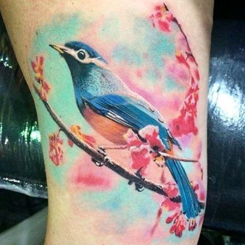 Instagram Photo By Nderm Tattoo Jun 15 2016 At 11 36am Utc Tattoos Watercolor Bird Tattoo Rose Tattoos