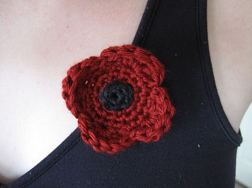 Crocheted Poppy for Veterans or Remembrance Day by SP Sandsteel ...