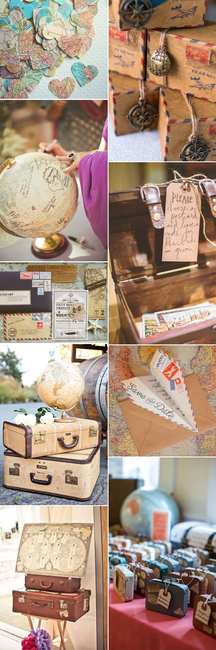 It's time to book your ticket to a vintage travel themed wedding.These  fabulous ideas