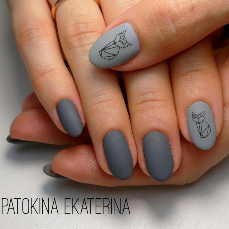 Модный серый матовый маникюр | Ногти, Гелевые ногти ...