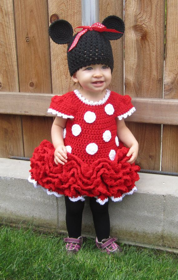Minnie Mouse Crochet Dress and Ears | Mickey mouse | Pinterest ...