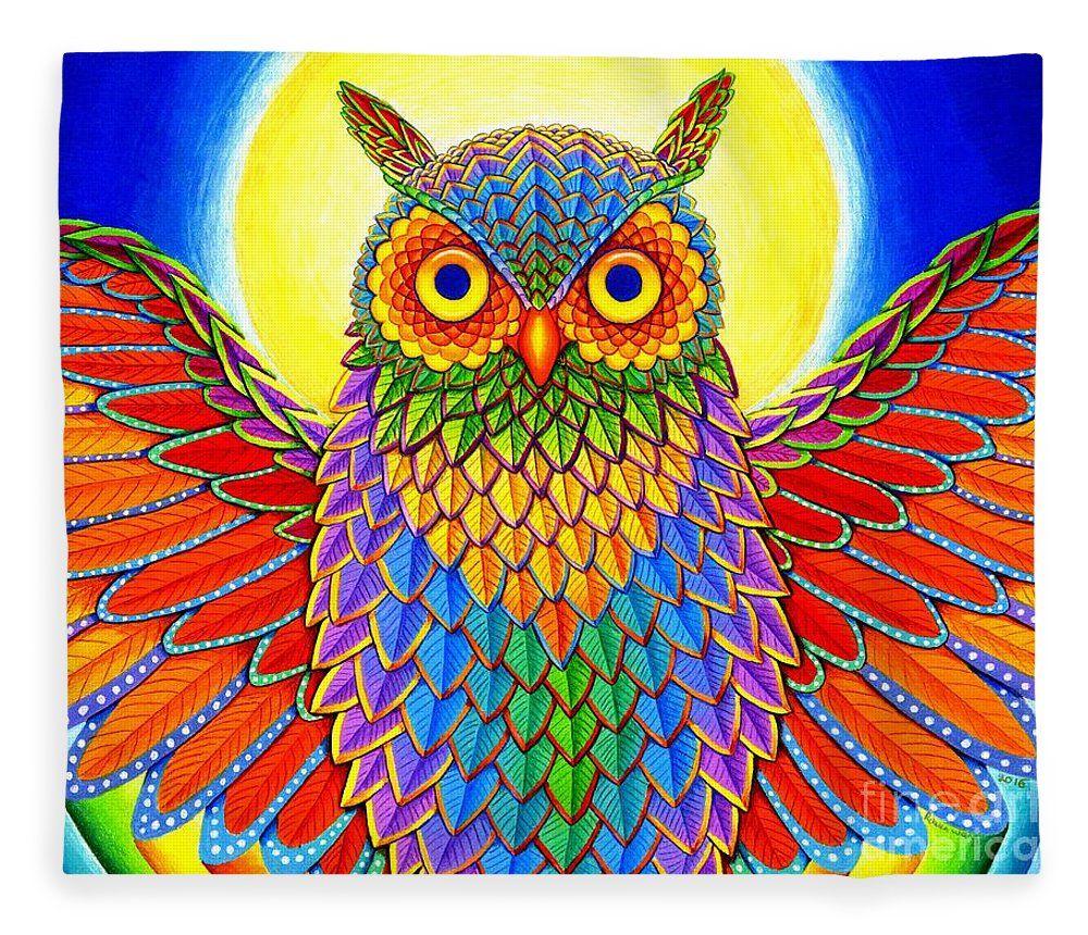 Rainbow owl fleece blanket for sale by rebecca wang home decor