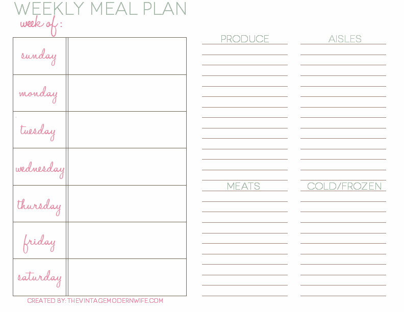 Weekly Meal Planning with The VMW – Weekly Meal Plan Template