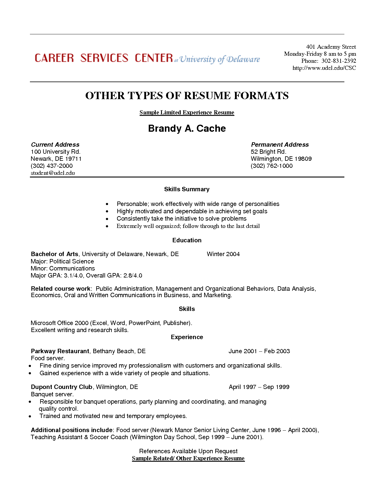 Resume Templates Limited Work Experience ResumeTemplates