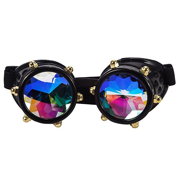 49e1aeb0be6e Kaleidoscope Rave Goggles Steampunk Glasses with Rainbow Crystal Glass Lens  (One Size-Adjustable head band