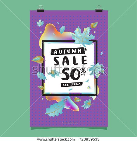 Vector autumn sale poster template with lettering Bright fall - for sale poster template