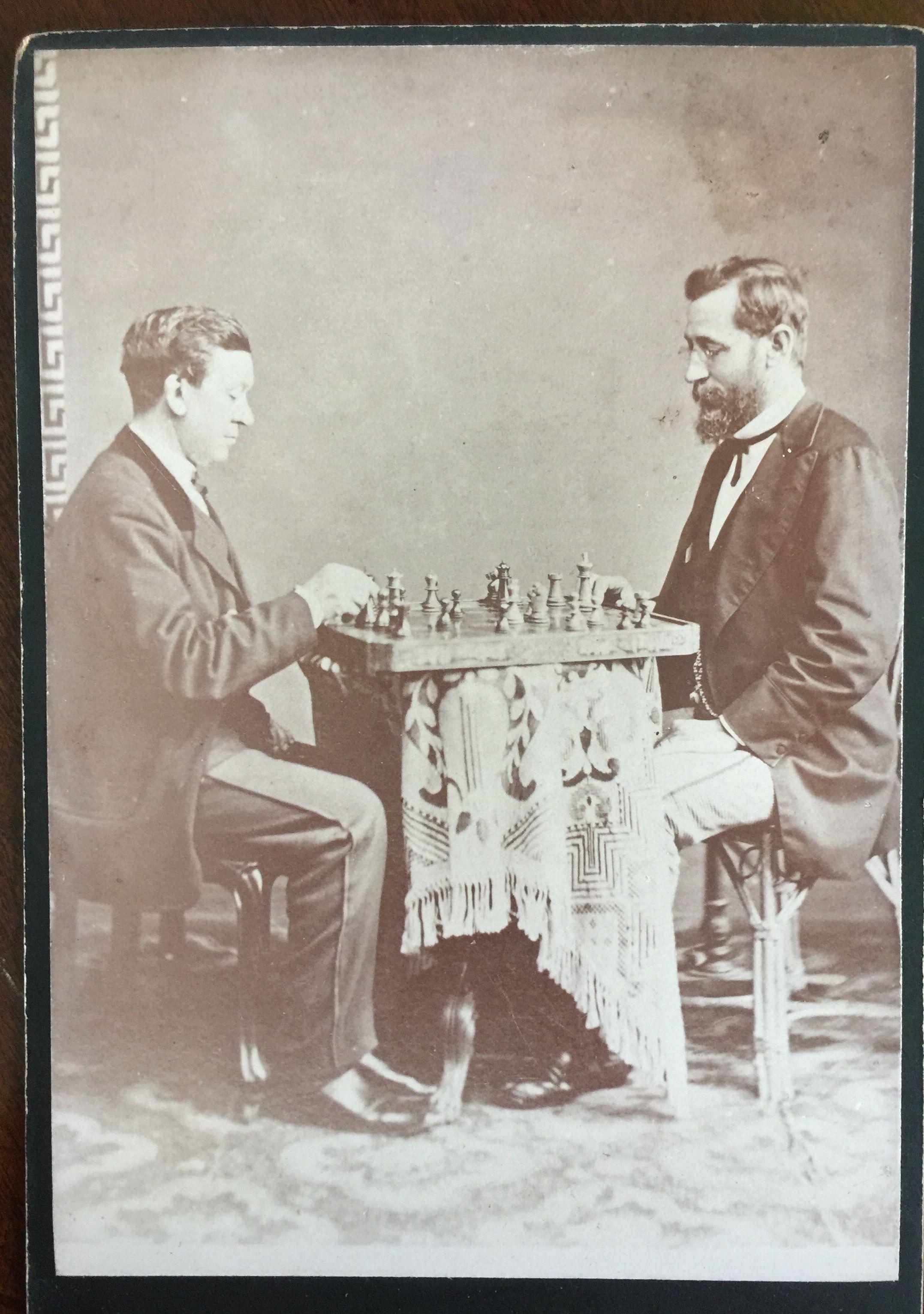 Chess Match On Carte De Visite C 1910 The Past