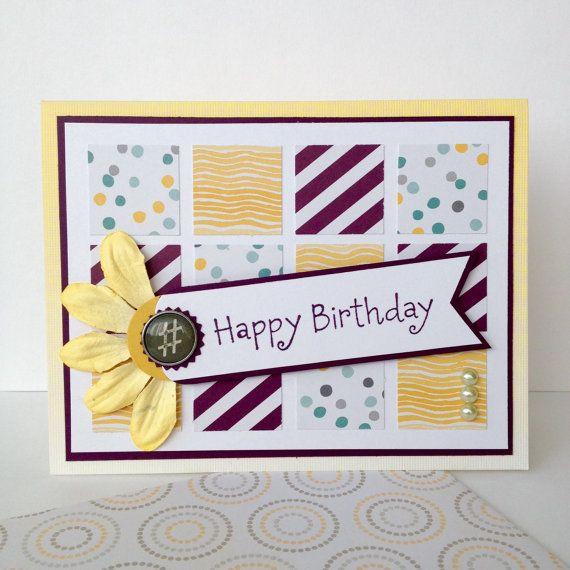 Handmade Birthday Card Modern Scrapbook Papers For Woman Etsy Handmade Birthday Cards Birthday Cards Cards