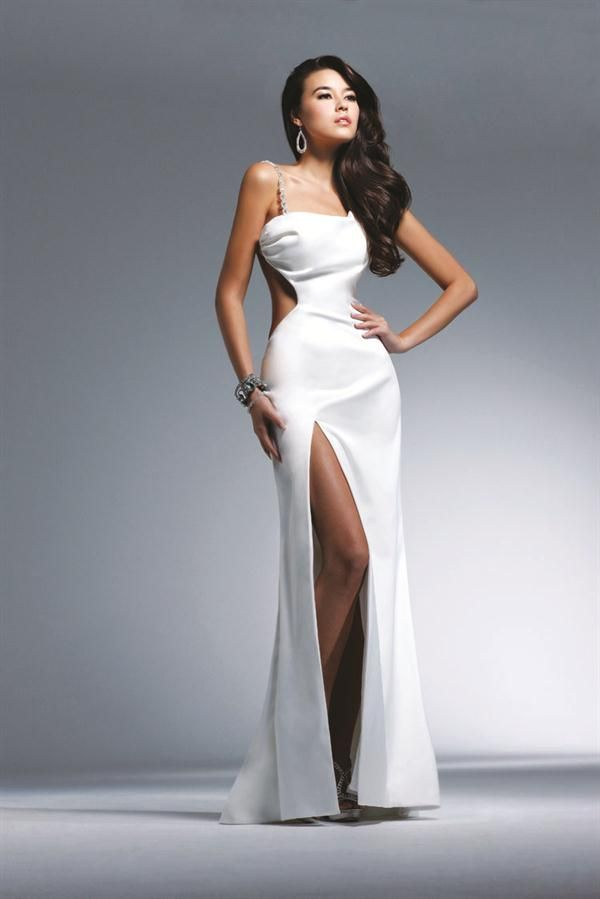 Vestido de fiesta largo color blanco