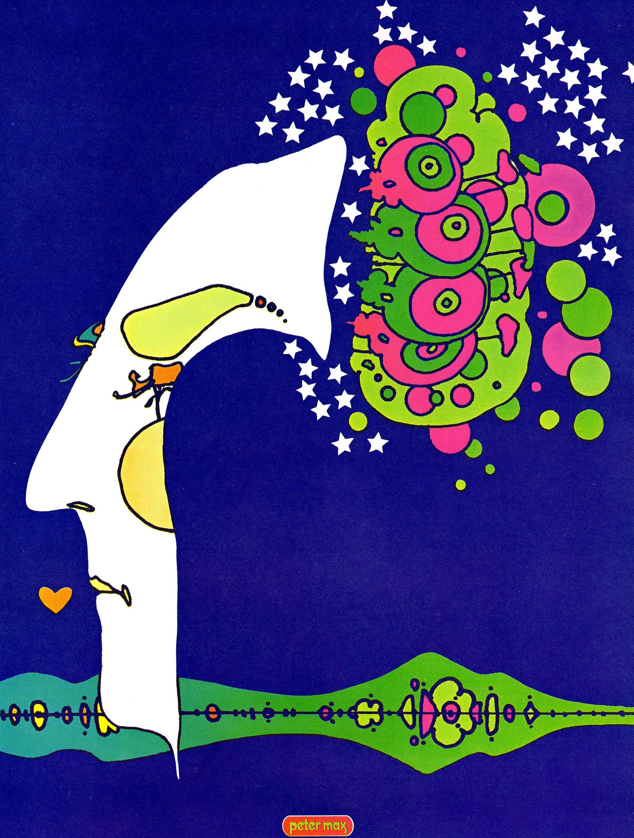 Peter max midnight dream poster vintage 1970 pop art