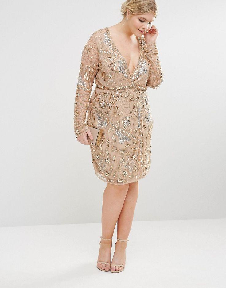 Missguided Plus Premium Wrap Embellished Wrap Dress - Plus Size ...