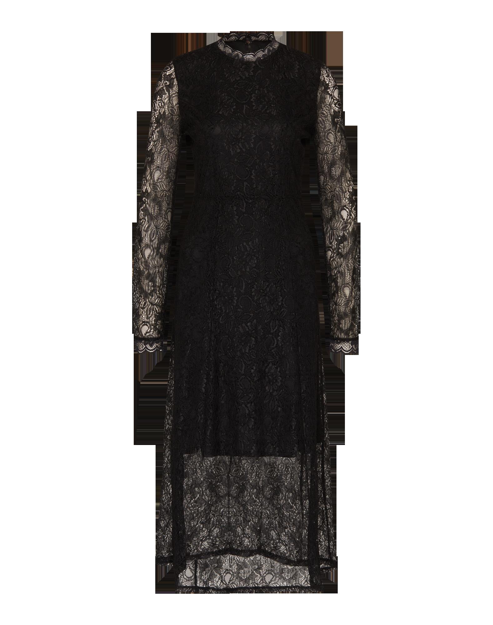 Das Cocktail Dress von Soaked in Luxury @aboutyoude kommt in detailreichem Spitzenstoff mit blickdichtem Unterkleid und See-Through Optik entlang der Ärmel. Der elegante Look wird durch die Maxilänge, den Stehkragen und einen dezenten Rückenschlitz supportet.