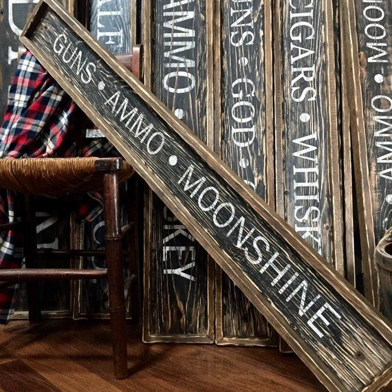 IN STOCK Moonshine Sign Guns Ammo Moonshine Wood Hunting Sign Rustic Decor Mancave Sign Country Deco #gunsammo