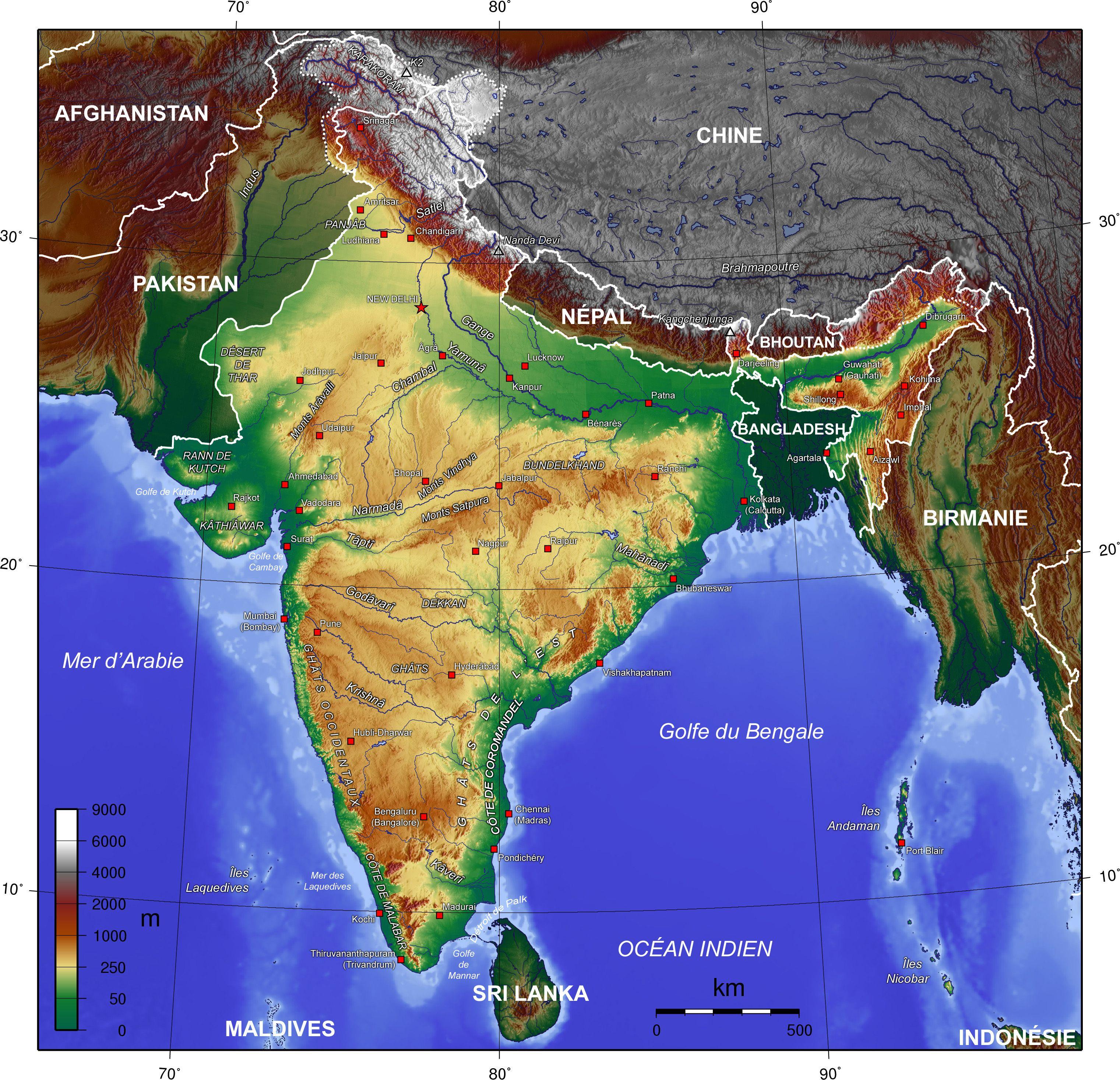 Carte De L Inde.Carte Topographique De L Inde 4 0 Cartes Bengale