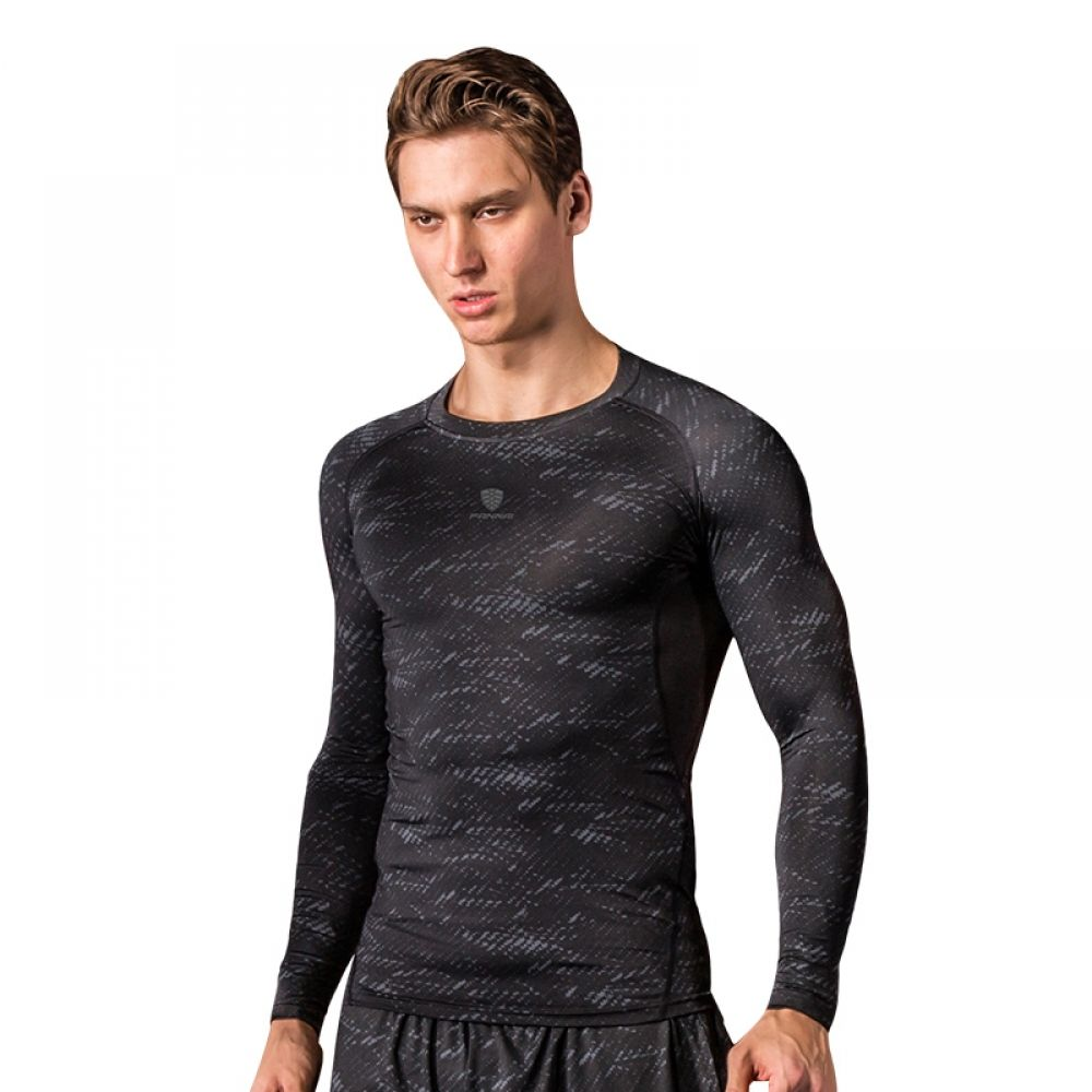 Fitness yoga longsleeved compression mens shirt 2154