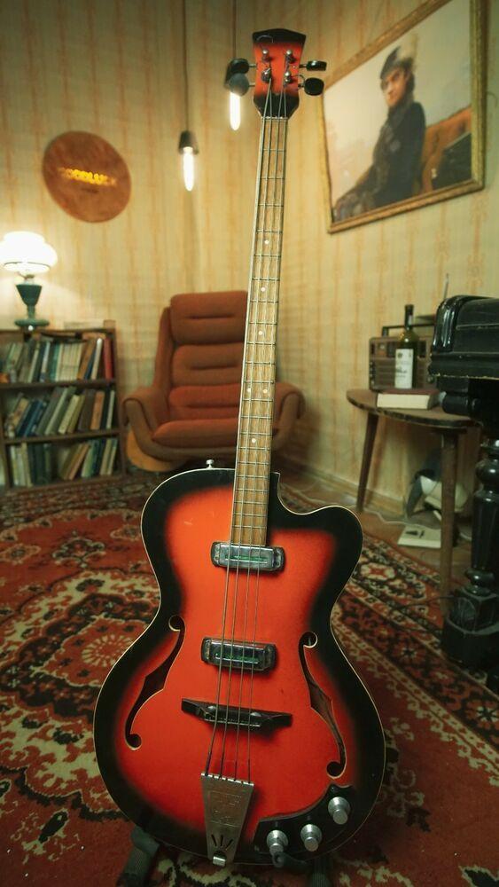 Lvov Lviv Soviet Semi Acoustic Bass Guitar Hollow Body