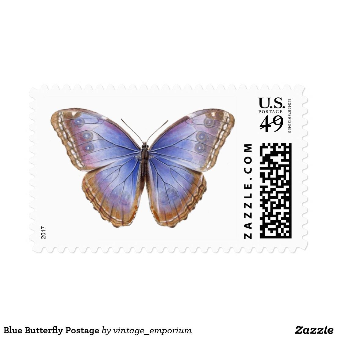 blue butterfly postage rsvp and wedding