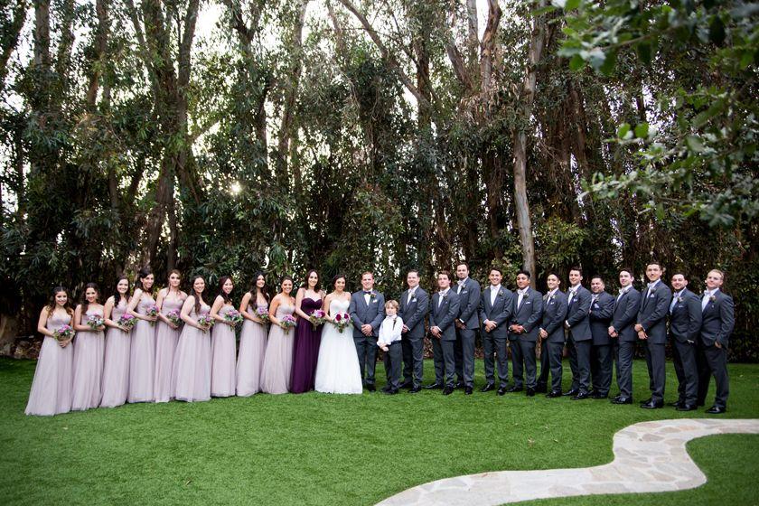 Bridal Party Posing Ideas Large Wedding Purple Bridesmaids Dress