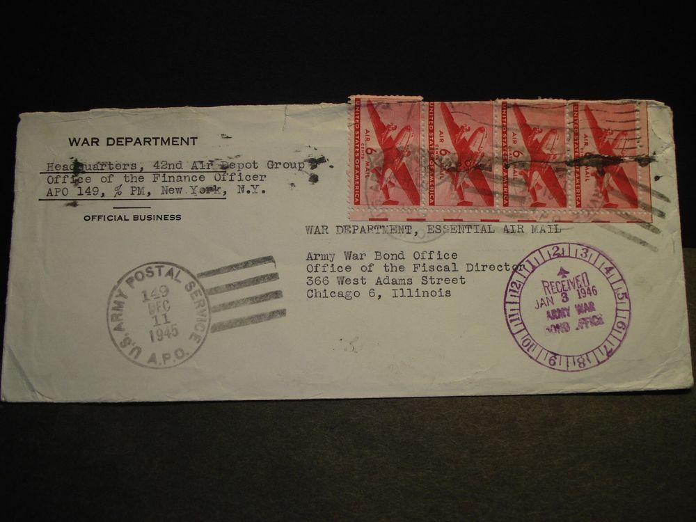 Apo 149 Erlangen Germany 1945 Essential Army Cover 42nd Air Depot