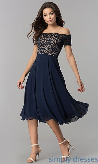 ad92ca4ca5e0 Shop tea-length chiffon wedding-guest dresses at Simply Dresses.  Off-the-shoulder short semi-formal party dresses under  100 with lace  bodices.