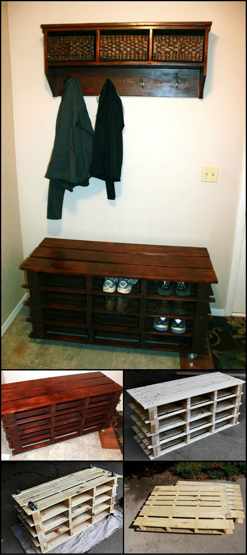 build an entryway bench from pallets with shoe storage