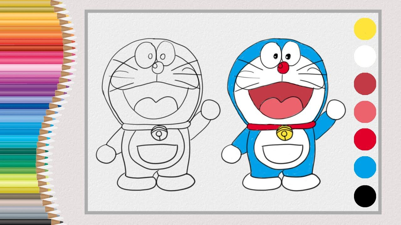 How To Draw And Colour Doraemon Easy Step By Step Drawing And Colour In 2020 Step By Step Drawing Drawing For Kids Drawings